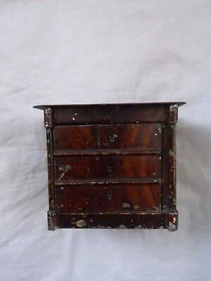 Dolls' House Miniature-Vintage Painted Tinplate Chest Of Drawers-Rock & Graner?