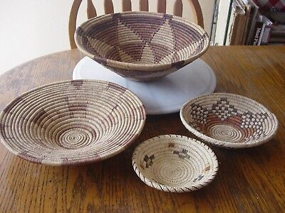 Lot of 4 Hand Woven Coiled Round Baskets - Assorted Sizes - previously owned
