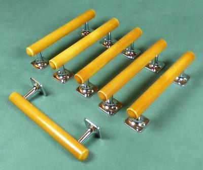 BUTTERSCOTCH AMBER CATALIN - 6x DOOR PULL HANDLES - ART DECO 1930's