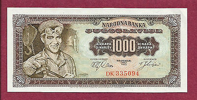 YUGOSLAVIA 1000 DINARA 1963 Banknote DK 335094 UNC - Steel Work - Sharp Note!