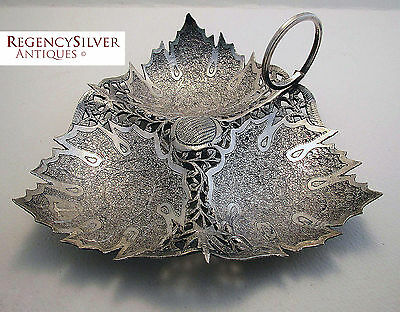 FINEST Rare Antique KASHMIRI INDIAN Islamic Persian Solid Silver LEAF Dish/Bowl