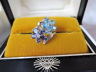 SIZE 6 1/2 GENUINE BLUE TOPAZ/AMEThyST DOUBLE FLORAL STERLING ESTATE RING*MINT!
