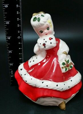BEAUTIFUL Vintage Kreiss & Company Ceramic Christmas Lady Figurine #54