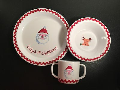 POTTERY BARN Kids Baby's First Christmas Plate 3 Piece Set