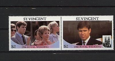 St Vincent MNH Royal Wedding Fergie Nancy Reagan Pair High Value 1986 23-018
