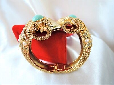 Fabulous Designer Signed Double Rams Head Clamper Bracelet**ornate And Mint!