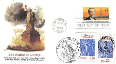 2224 22c Statue of Liberty, Fleetwood Cachet, dual issue with France [D280993]