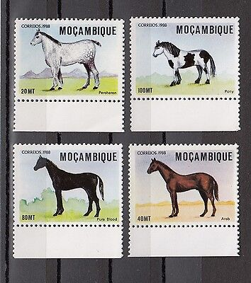 Timbre Stamp 4 Mozambique Y&t#1096-99 Cheval Horse  Neuf**/mnh-Mint 1988 ~A55