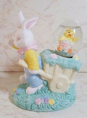 Jcpenny Easter Porcelain Bisque Farmer Rabbit W/water Ball