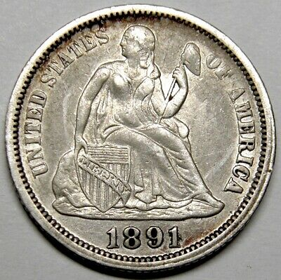 1891-O Seated Liberty Dime AU+