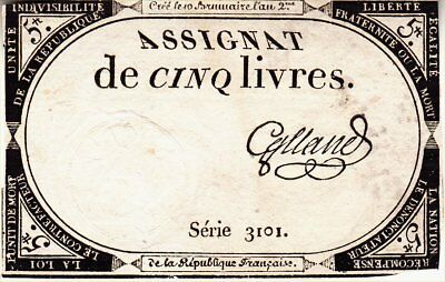 1793 France (French Revolution) 5 Livres 'assignat' Banknote