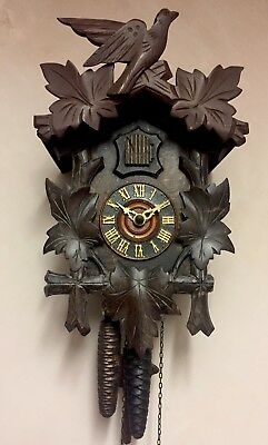 "German 2 Weights Driven Movement Carved Wood Case Cuckoo Clock GWO 13"" L 8""W"