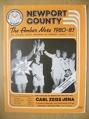 1980-81 European Cup Winner's Cup - NEWPORT COUNTY v CARL ZEISS JENA
