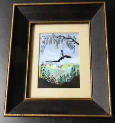 FOIL PRINT Picture in wooden Frame_Vintage_woman Silhouette on a swing_Small
