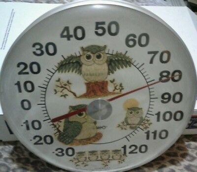 "Original Rare Jumbo Dial OWLS 12"" Thermometer by OHIO THERMOMETER*NEW OLD STOCK"