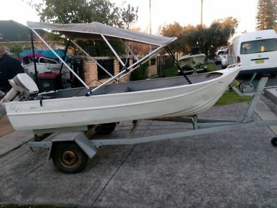 Aluminum 13FT boat rego on trailer and a 9.9hp Johnson engine