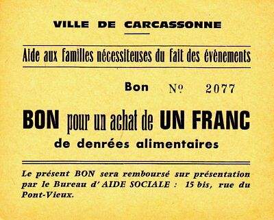 1940-1945 France (Carcassonne) Emergency Ration Coupon 1 Franc Banknote