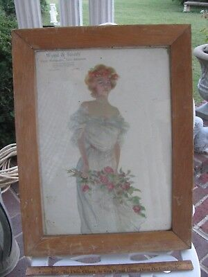 Antique Pretty Girl Framed Advertising Sign 1903 Atlantic,iowa Farm Mortgages