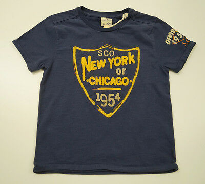 SCOTCH SHRUNK Boys Navy Blue New York Chicago Short Sleeve T-Shirt Tee Top BNWT