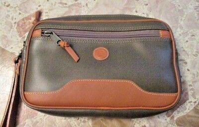 Vintage Christian Dior Leather Trim Case Green Brown Soft Case Cosmetic Business