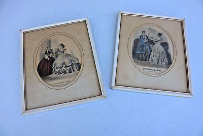PAIR Old Unique Stylish Chic ANTIQUE FRENCH FASHION PRINTS FRAMED Beautiful