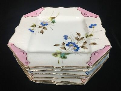 6 Antique Hand Painted Porcelain Dessert Plates