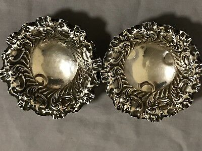 Antique Vintage Sterling Silver Fine & Detailed Nut Dishes Ball Feet No Mono NR