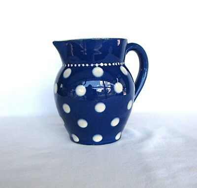 Royal Blue With White Polka Dots Pottery Pitcher Made In Germany