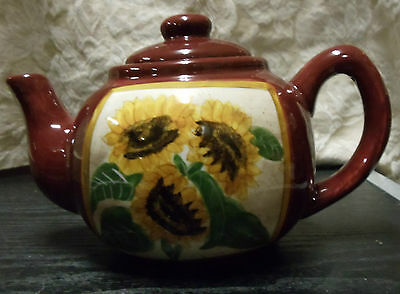 Teapot Harvest Sun Giftcraft 2002 Sunflower Design High Gloss 9.5 in. x 6.5 in.