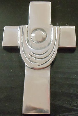 "Polished Aluminum Circle Wall Cross HED 6.75"" x 4.25"""