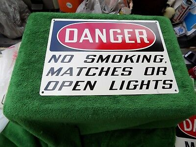 Vintage Danger No Smoking Matches Or Open Lights Metal Sign Coal Mine?Factory?