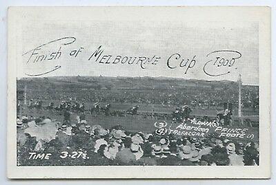 1909 Pt Npu Postcard Finish Melbourne Cup First Prince Foote Time 3.275 T59