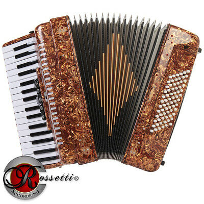 New Rossetti Piano Accordion 72 Bass 34 Keys 5 Switches Tiger R3472-Tg + Case