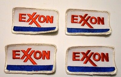 """Lot Of Four Exxon Gasoline Patches Embroidered Oil 3-1/2"""" inches"""