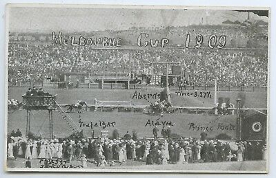1909 Pt Npu Postcard Finish Melbourne Cup First Prince Foote Time 3.275 T60