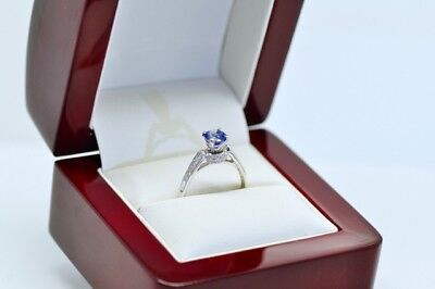 Tanzanite and  Diamond  Engagement & Wedding Rings 14K Solid White Gold