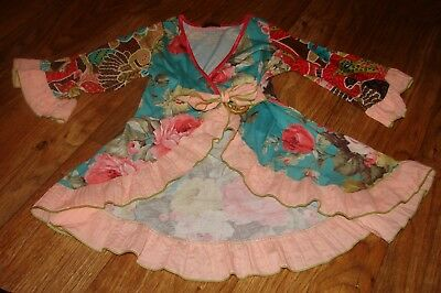 Boutique Girls Size 6X Gorgeous Vintage Floral Print Cardigan With Ruffles