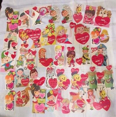 Lot of 41 Vintage Children Valentines Made in USA 1950's & 1960's