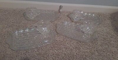 8 Pieces Vintage Iridescent Snack Plate And Cup Sets
