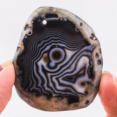 48x41x6mm Unique Rock Lines Coffee Stripes Agate Slice Pendant Bead 71007191