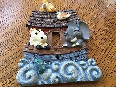 Noahs Ark Single Toggle Switchplate Wall Cover Baby Boy Nursery 3D Polyresin