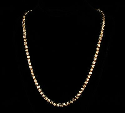 NATURAL 10.0ctw FANCY CHOCOLATE DIAMOND 18K YELLOW GOLD LINE TENNIS NECKLACE