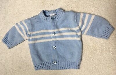 Carter's Baby Boy Blue And White Stripes Sweater Cardigan Size Newborn
