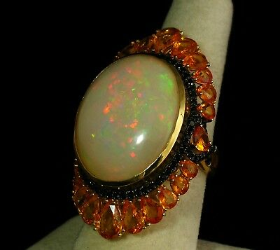 VINTAGE ESTATE HUGE NATURAL 41.33ctw OPAL SAPPHIRE & DIAMOND HALO 18K GOLD RING