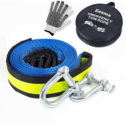 Tow Rope,Easma Car Heavy Duty Recovery Tow Straps 17600Ib 5M With 2 Shackles/2 A