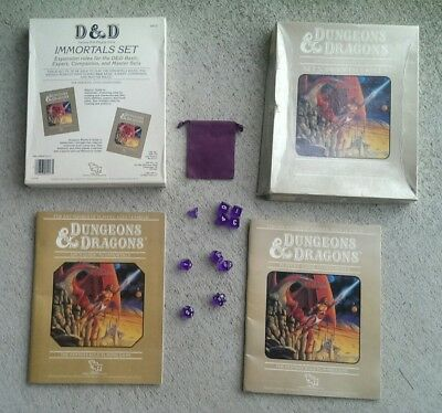 TSR BECMI 1985 Immortals Rules Set 5, laminated booklets and cover, new dice set