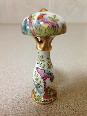 Antique rare Limoges small Lamp with Paradise birds. Circa 1910.