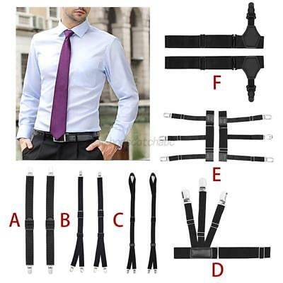 Mens  Uniform Dress Shirt Stays Holders Elastic Garter Non-slip Locking Clamps