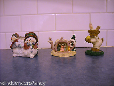 Lot Vintage Holiday Decoration Easter Bear Christmas Snowman Candle Mouse Teapot