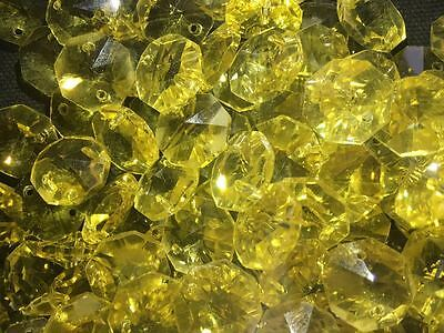 50pcs14mm yellow crystal octagonal pendant chandelier pendant decorative glass Y